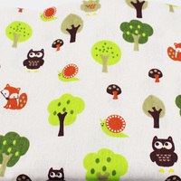 Owl Pattern Printed Cotton Linen Fabric For Sewing Quilting DIY Owl Cloth Of Curtain Bag Cushion