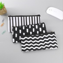 20pcs/lot Vintage Simple Stripes Canvas Pencil Case Cosmetic Pouch Pen Bag Office School Stationery Supplies Black&White