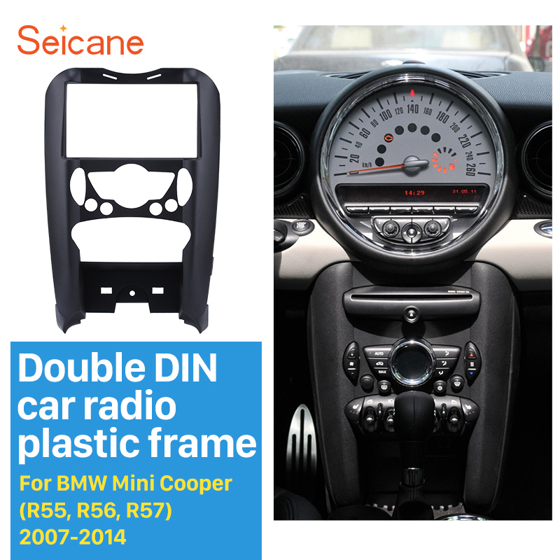 Seicane 178*102MM Car Radio Fascia for 2007-2014 BMW MINI COOPER (R55, R56, R57) Interface Dash CD Trim Installation Frame Kit цена