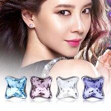 Warme Farben 925 Sterling Silver Stud Earring fine Jewelry Women Earrings Crystal Small Bell Brincos for Lady