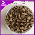 (1000pcs/bag, 3.0mm x 2.4mm x 4.0mm) HARMONY Dark Blonde Flat end copper micro tubes micro rings without flared for I-tip hair