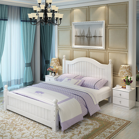 € 8815.16 11% de réduction|Lit à la maison meubles de chambre à coucher  meubles nordiques simples lit en bois massif moderne 1.2 m/1.5 m lit double  ...