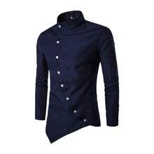 Hombres camisa 2018 personalidad botón oblicuo irregular hombres vestido  casual Camisa de manga larga slim fit calidad Camisas 4ffcaff07e0