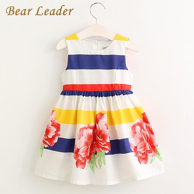Bear leader muchachas del vestido 2017 nuevas muchachas ocasionales niños ropa a-link sin mangas a rayas ropa de los cabritos de la princesa vestidos