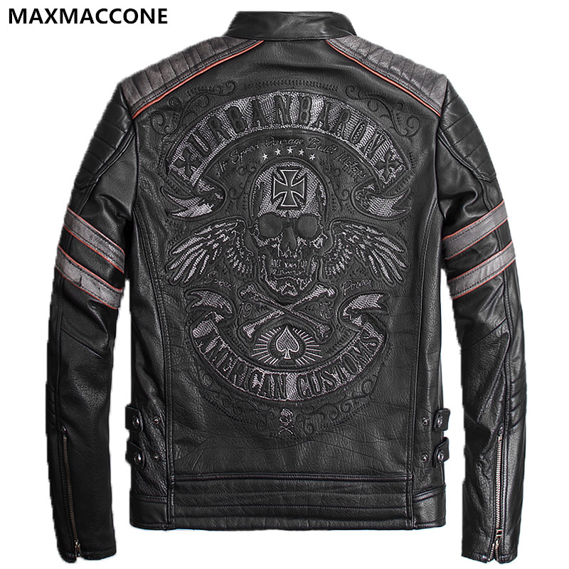 2018 Vintage Black Genuine Leather Mens Jacket Skull ...