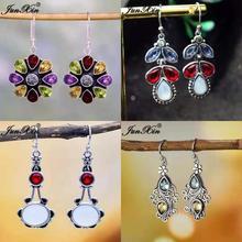 Boho Antique Style Geometry Moonstone Drop Earrings For Women Round Red Pink Green Opal Earrings Female Zircon Wedding Jewelry
