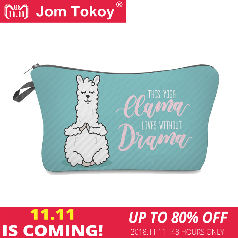 Jom Tokoy 2018 Cosmetic Organizer Bag Make Up Printing Llama Cosmetic Bag Fashion Women Brand Makeup Bag Hzb921 unicorn 3d printing fashion makeup bag maleta de maquiagem cosmetic bag necessaire bags organizer party neceser maquillaje