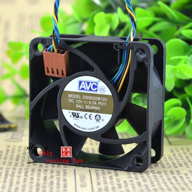 Free Shipping AVC DS06025B12U P011 60mm 6cm DC 12V 0.70A Pwm server inverter cooling fan free shipping for panaflo fba06t24h dc 24v 0 11a 3 wire 3 pin connector 60mm 60x60x15mm server square cooling fan
