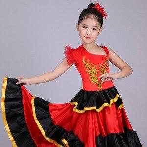 Image 3 - Vestido de danza del vientre rojo para niñas, traje de Flamenco español, vestido Tribal de salón con flor de cabeza