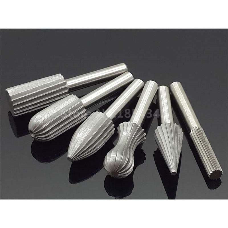 6Pcs Set Bearing Steel Carbide Burr Milling Cutter 6mm Shank Dremel Rotary  Tools Electric Grinding Metal Graver Tool Accessories