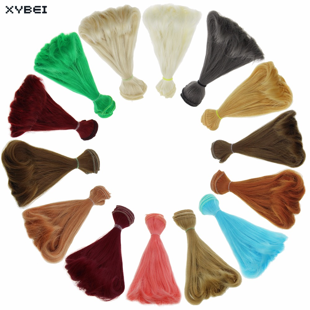 1 x BJD Wigs 15 * 100 cm Multicolor DIY Pure Hair High Temperature Curly Wig For Barbie Doll For Monster High For 1/4 1/6 Doll 1 8 bjd sd doll wigs for lati dolls 15cm high temperature wire long curly synthetic hair for dolls accessorries high quality wig