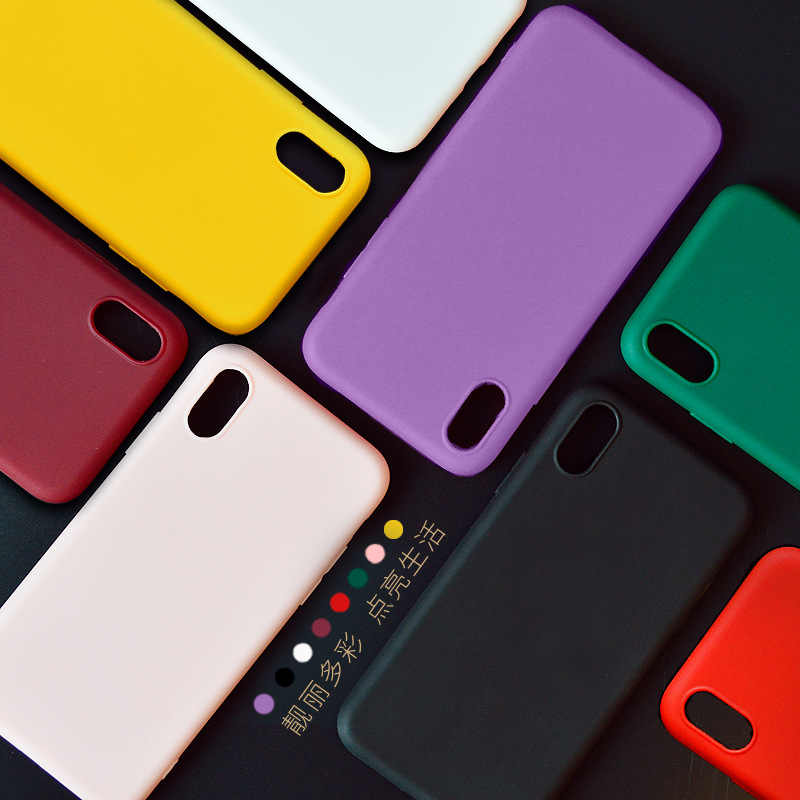 Funda de teléfono mate Color caramelo para iPhone XS Max XR X 8 Plus 10 funda Simple de silicona lisa para iPhone funda suave TPU 6 6 S 7 8 Plus
