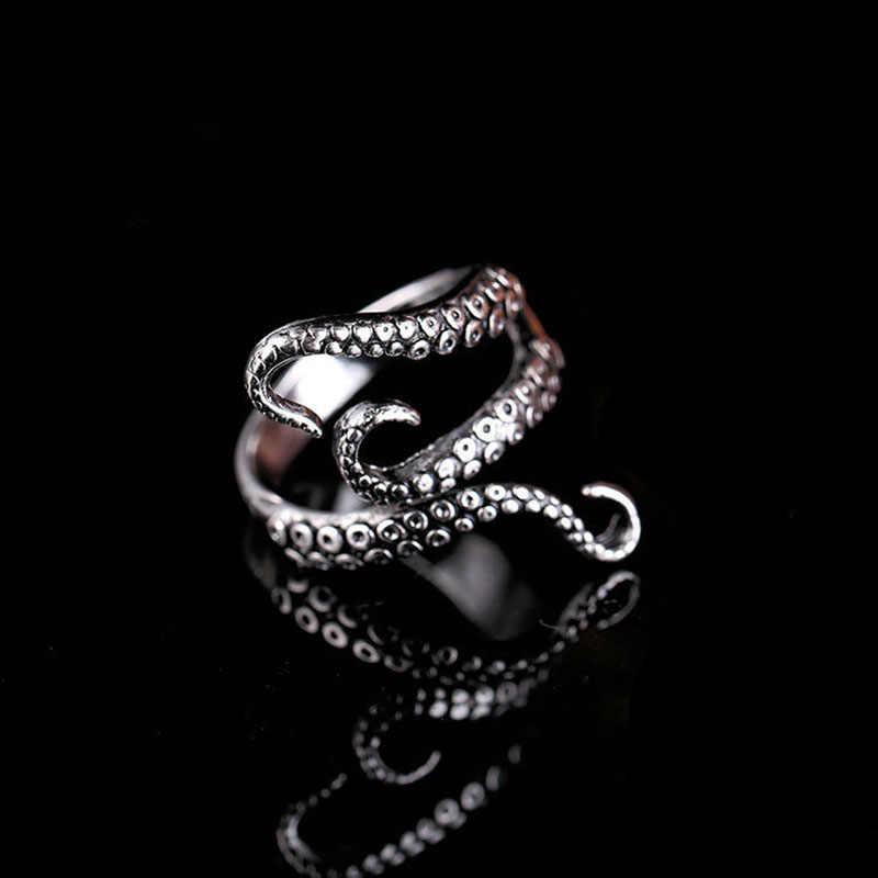 Gothic ทะเลลึกปลาหมึก Octopus แหวนไทเทเนียมเหล็กเปิดปรับแหวนผู้หญิงผู้ชายเครื่องประดับ Femme Anillos Mujer Bague homme
