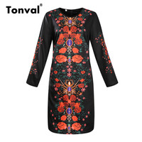 Tonval 2017 Autumn 6XL Plus Size Women Dress Floral Long Sleeve Casual Dresses Vestidos Robe Femme