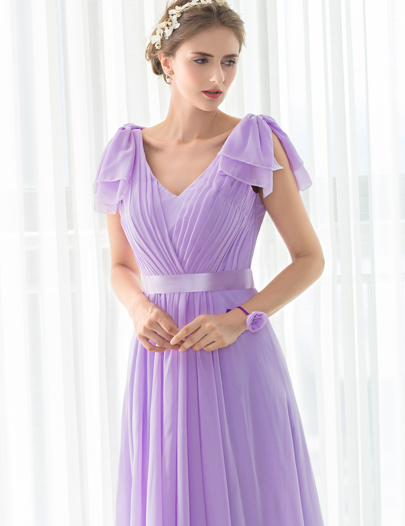 2017 Hot Sale Long Purple Bridesmaid Dresses Chiffon Pleat ...