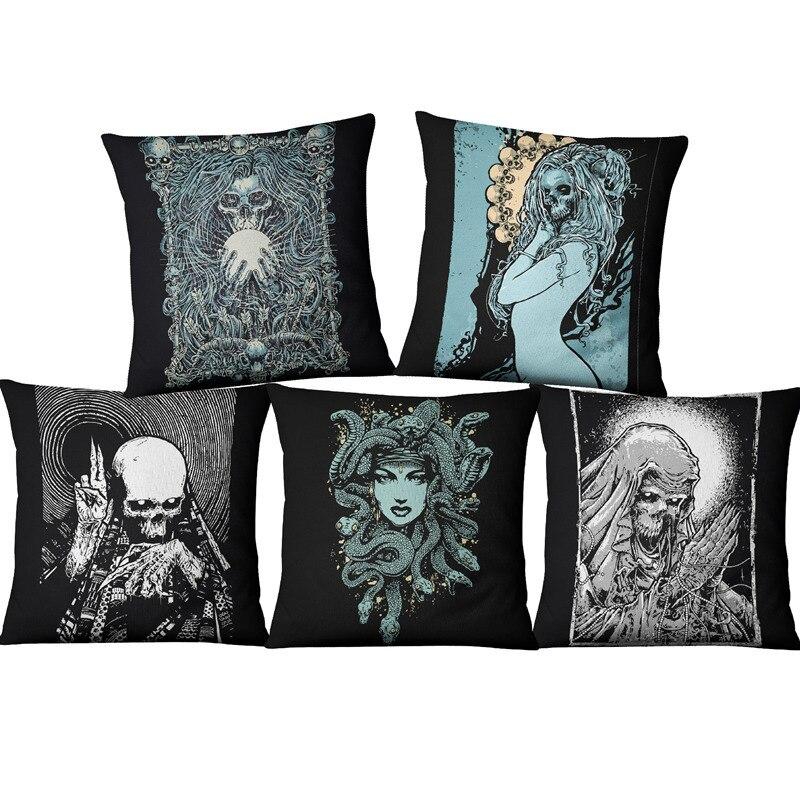 Terror Skull Cushion Cover Coffee House Punk Skull Art Linen Blend Pillowcase Home Decorative Throw Cushion Pillow Case