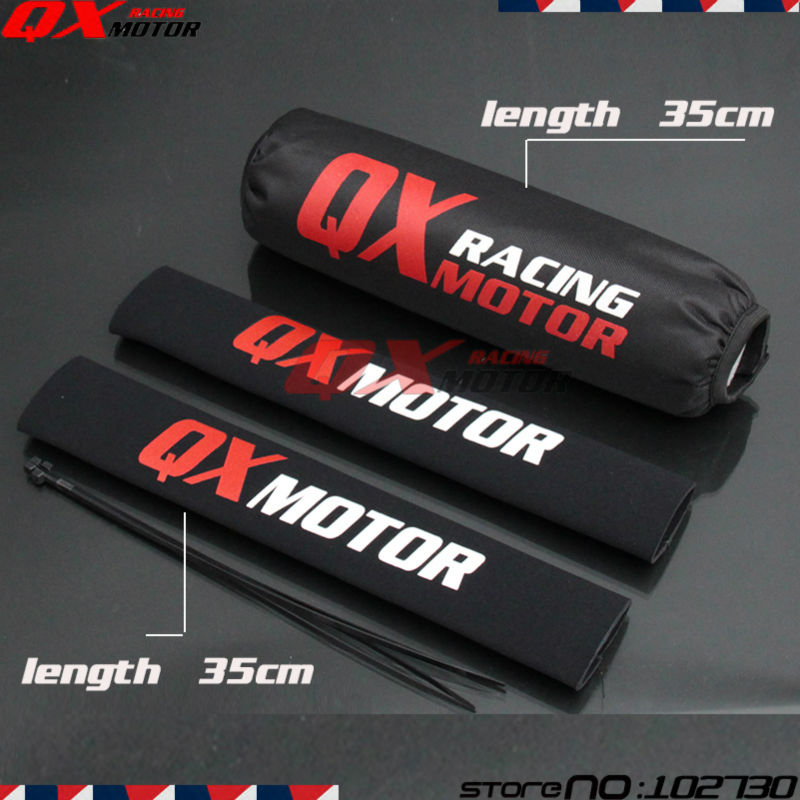 35cm Front Fork Protector + Rear Shock Absorber Guard Wrap Cover For CRF YZF KTM KLX Dirt Bike Motorcycle ATV Quad Motocross