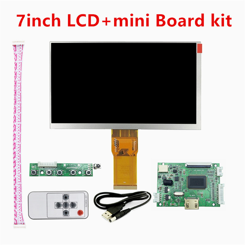7 Inch 1024*600 TFT Mini PC Display Screen Matrix LCD Monitor 50pins TTL Small Driver Control Board HDMI Input For Raspberry Pi