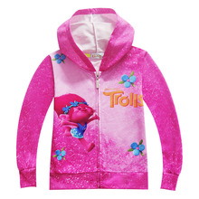 EMS/DHL Free shipping 2017 New Trolls Boy Girl Child Spring Autumn girls coat sweater cardigan sweater zipper Hoodie sweater