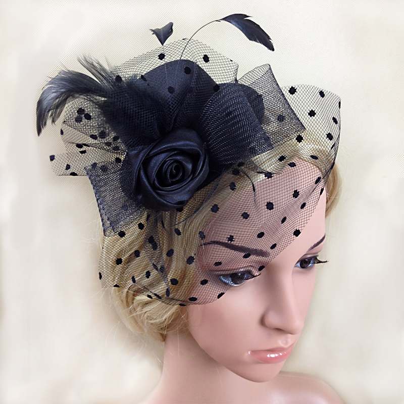 Vintage Black Church Hat with Veil Fascinator Derbyhair fascinators for weddingstocados pelo