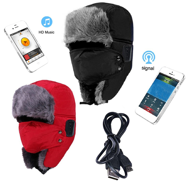 48d625dd73a09 2015 New Sport Outdoor Winter Warm Bluetooth Headset Hats Earphone Fur  Trapper fone de ouvido