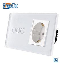 EU standard 3gang 1way remote wall switch and Germany wall socket eu standard 2gang 1way remote wall switch and french wall socket