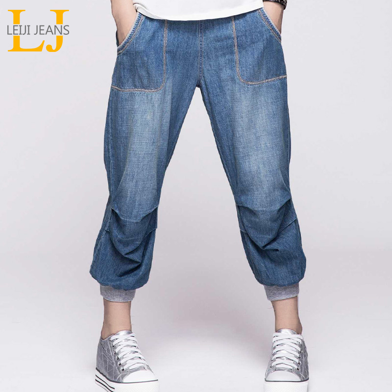 LEIJIJEANS Summer Plus Størrelse capri jeans Bleached Elastic Taille Light Wash Calf Længde Cotton Women Loose Stretch Harem Jeans