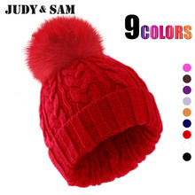 Apparel Accessories Winter Women Hat Beanie Style Promotion Brand Design Knitted Wool Bobble Warm Skullies With Real Fox Fur Top