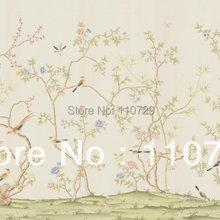 Расписанный вручную шелковый обои цветы с птицами ручная роспись ТВ/спальня/гостиная/столовая/диван/кабинет/крыльцо настенная бумага