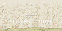 hand painted silk wallpaper painting flowers with birds hand painted TV/Bedroom/living room/dinning/Sofa/study/porch wall paper