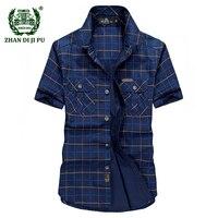 プラスサイズm-5xl 2018夏メンズカジュアルブランドアーミーグリーングリッド短いシャツ男100%純粋な綿afsジープカーキチェック柄シャツトップス