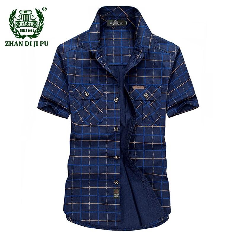 Plus la Taille M-5XL 2018 D'été hommes de marque casual armée vert grille courte chemise homme 100% pur coton afs jeep kaki plaid chemises tops