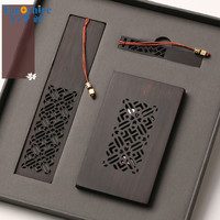 Wholesale Wooden Crafts Chinese Style Gift Custom Creative Gift Card Holder Set Bookmark Wooden U Disk