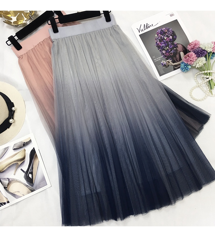 HTB1GRirdK3tHKVjSZSgq6x4QFXa2 - Surmiitro Long Tulle Skirt Women Spring Summer Gradient Korean Elegant High Waist A-line Pleated School Midi Skirt Female