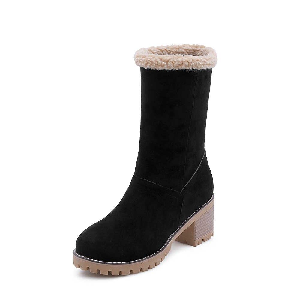 ESVEVA 2020 Kadın Çizmeler Platformu Batı Tarzı Kar Botları Kare Yüksek Topuklu Yuvarlak Ayak üzerinde Kayma Çizmeler Kadın yarım çizmeler 34 -39