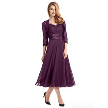 Mother of the Bride Dresses With Wrap Jacket Tea Length Purple Navy Blue A-Line Chiffon Pleats Waist Corded Lace with Appliques