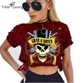 2017 New Fashion GNR Printing Hollow Out Cropped Tops For Women Short Sleeve T-shirt Punk Rock Gothic Skull Tees Femininas