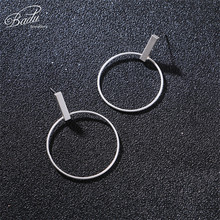 Badu Korean Stud Earring Silver Gold Geometric Metallic Earrings Women Big Round Circle Exaggerated Jewelry Wholesale