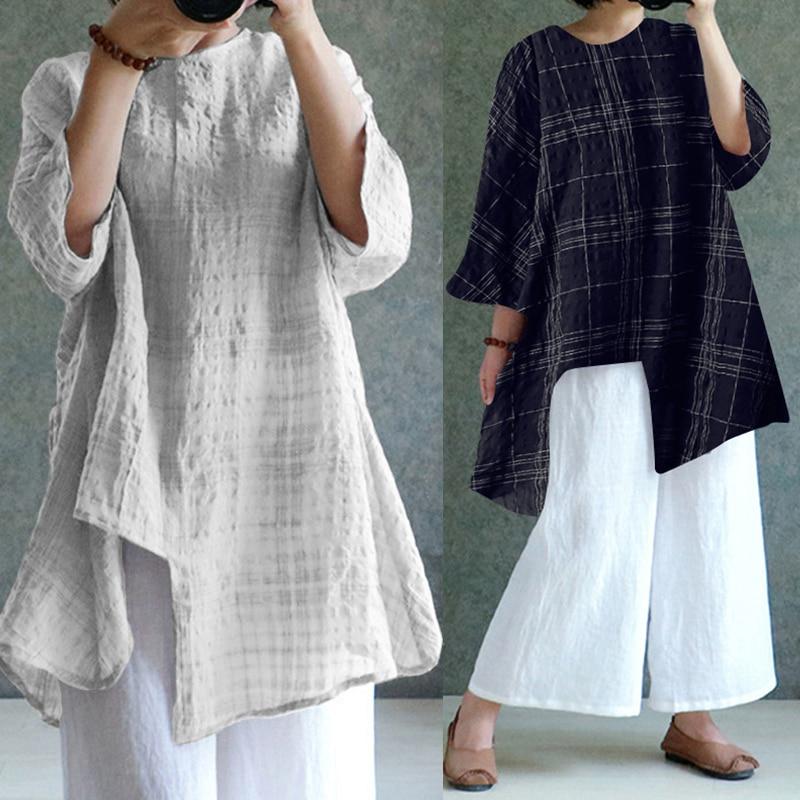 ZANZEA Plus Size Women Vintage Linen Blouse Long Sleeve Shirts 2018 Autumn Plaid Split Casual Loose Retro Blusas Asymmetric Tops