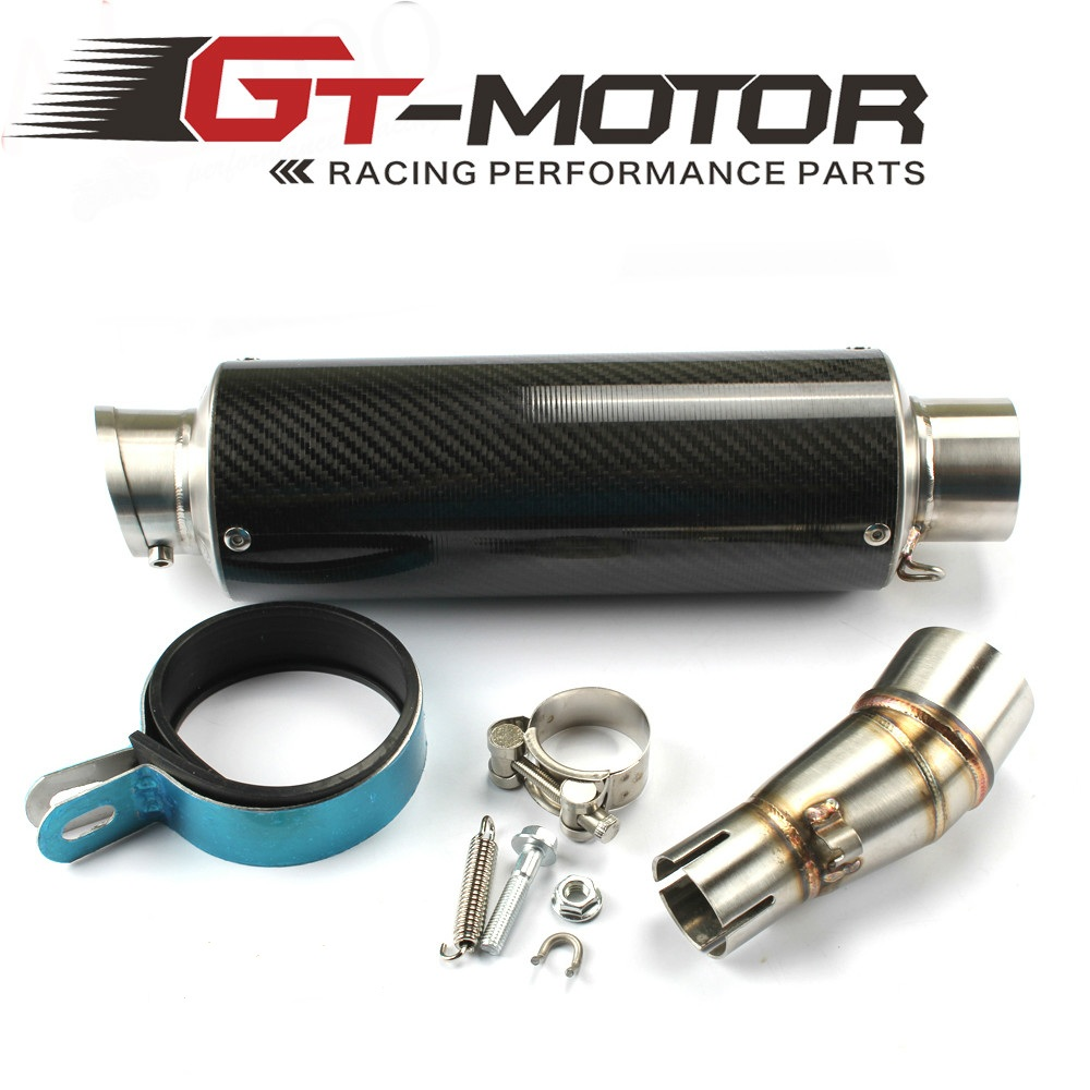 Gt Motor Middle Pipe With Short Carbon Fiber Exhaust Muffler Slip On Kawasaki Ninja 300 Tarmac Full System E Mark Motorcycle For