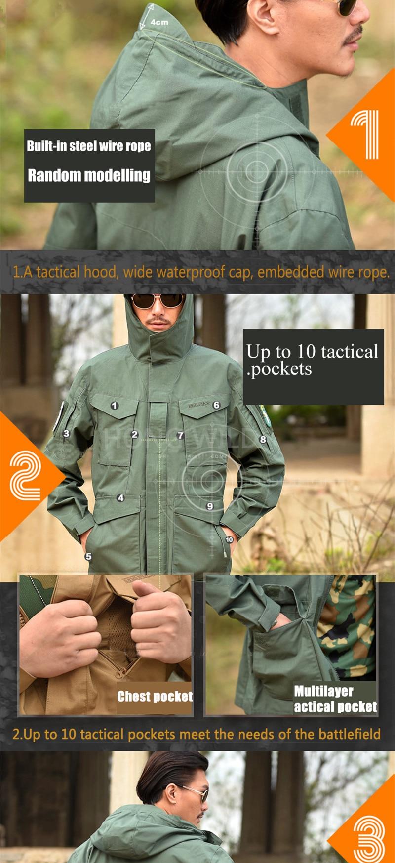 Men's Tactical Trench Coats Jacket Hoodie