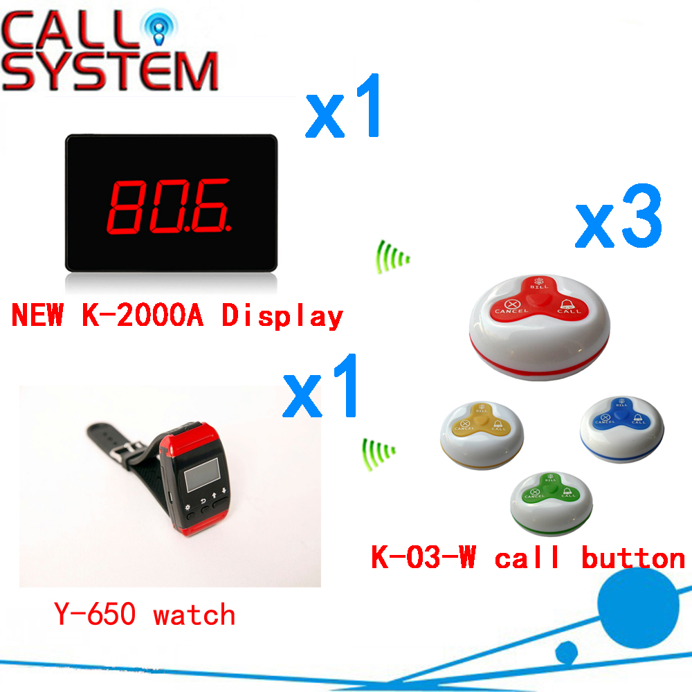 Restaurant Call Waitress System Top Popular K-2000CT Display With Y-650 Watch And K-O3 Button( 1 display+1 watch+3call button ) restaurant pager watch wireless call buzzer system work with 3 pcs wrist watch and 25pcs waitress bell button p h4