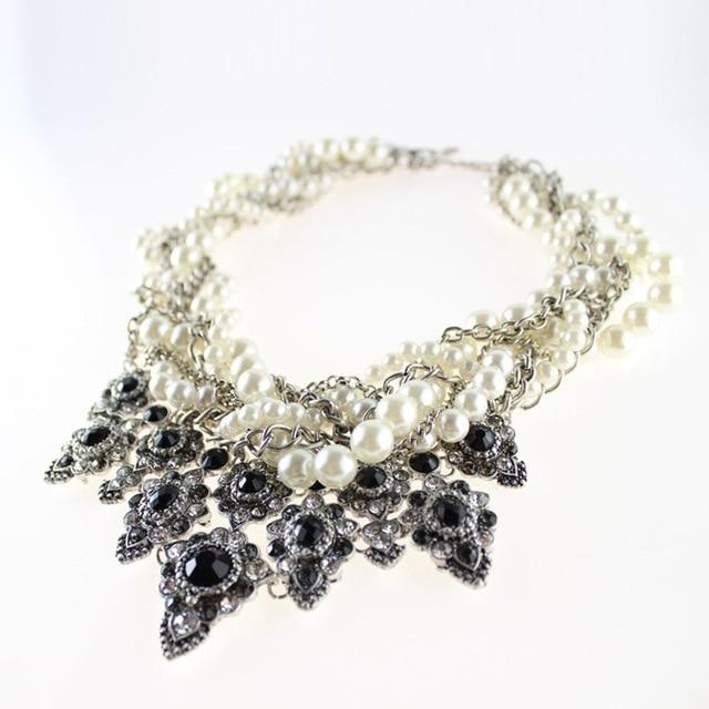 Collier 2016 maxi Collar de Perlas Colgantes Gargantilla Moda Vintage Cadena Del Grano Del Rhinestone Collar Llamativo Mujeres joyería de perlas