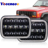 5x7 Inch Arrow Style LED Headlight 7x6 5x7 inch Projector White DRL Yellow Turn Signal Black For Jeep Wrangler YJ Cherokee XJ