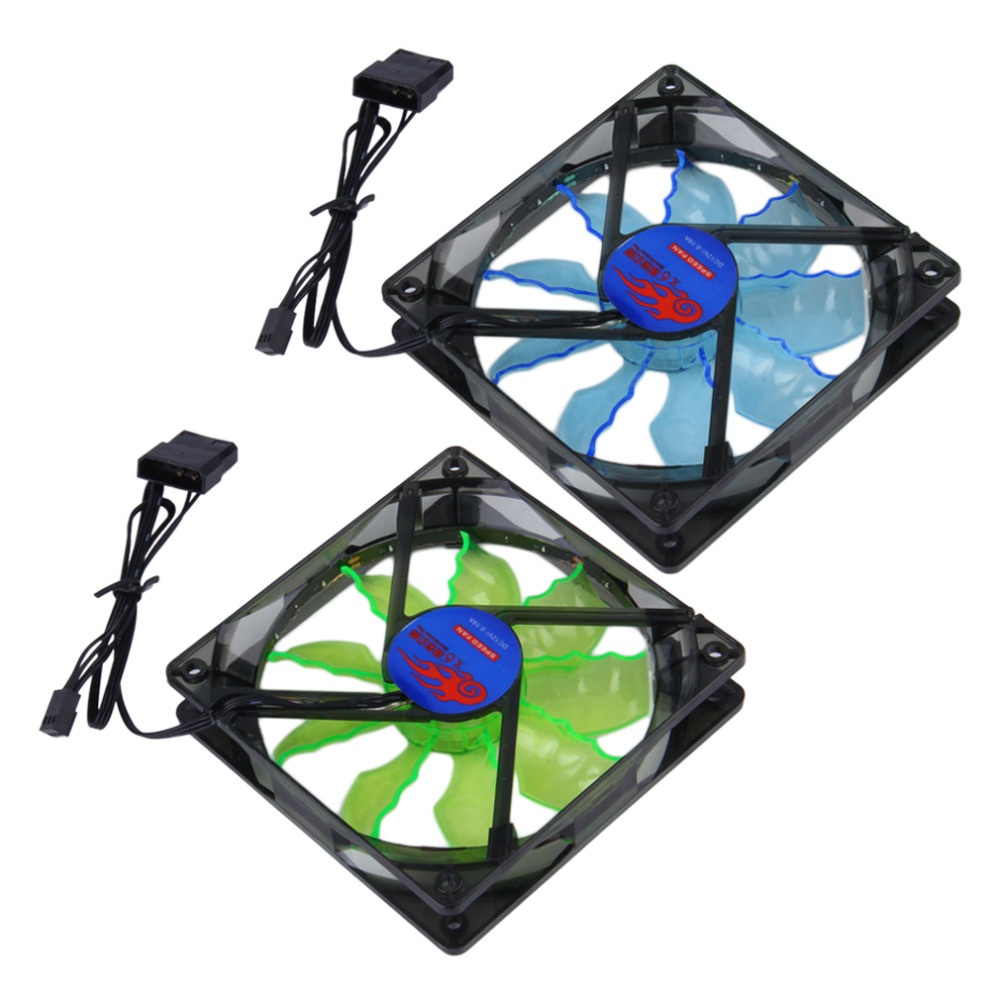 Hot New Cool & Quiet 15 Blue/Green LED Light Desktop PC Computer Case Cooling Cool Fan Wholesale Drop Shipping