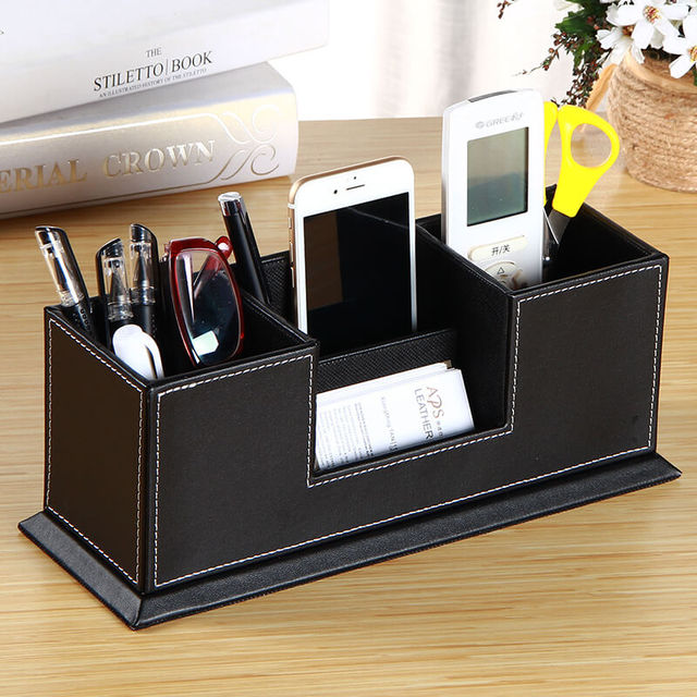 Pu Leather Desk Stationery Organizer Storage Box Pen Pencil Business Cards Phone