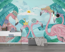 Купить с кэшбэком Beibehang Custom wallpaper fresh tropical plants flamingo TV background wall paper home decoration 3d wallpaper background mural