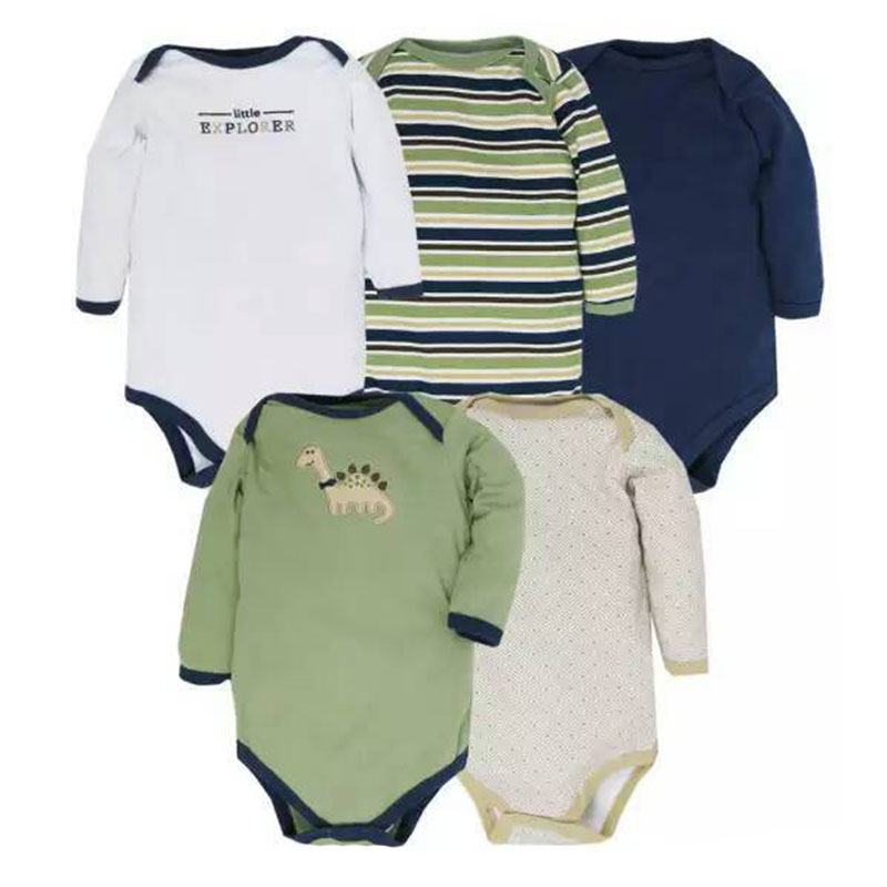 5pcs/lot Long Sleeve Baby Bodysuit 2018 Cotton Cartoon Striped Newborn Baby Girl Boy Clothes Winter Infant Jumpsuit 0-12Months contrast striped side bodysuit