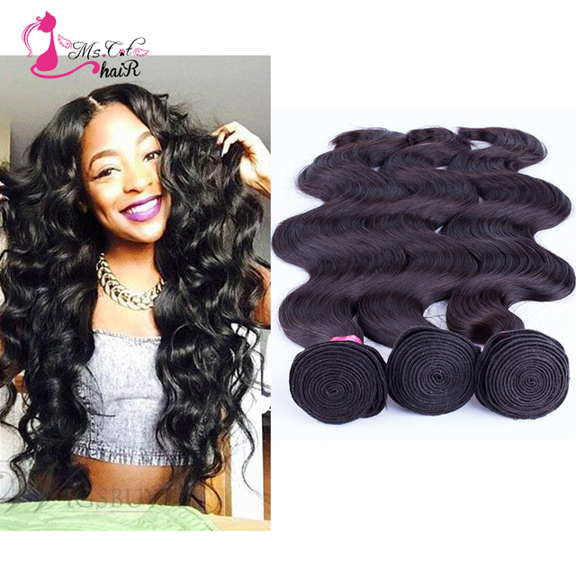 7A Virgin Hair Natural Black Big Wave Lace Closure With 3 Hair Bundles