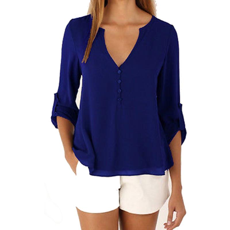 New 2016 Autumn Women chiffon   shirt   Fashion Long sleeved women   blouses     shirt   plus size casual chiffon tops loose women   shirts